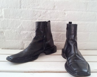 Costume National Black Chelsea Boots 7 Mens 90s Vintage Beatle Boots Square Toe Chunky Heel Italy