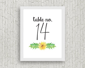 Daisy Wedding Table Numbers 1-20 // 4x6 // Instant Download