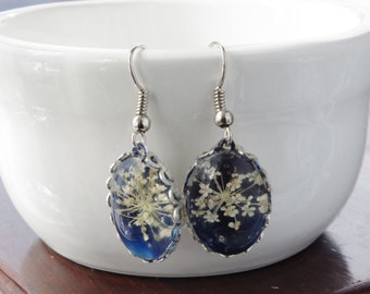 Real flower earring Nature jewelry Blue earrings flowers jewelry Real pressed flowers Mother's day gift for mom Anniversary gift for grandma