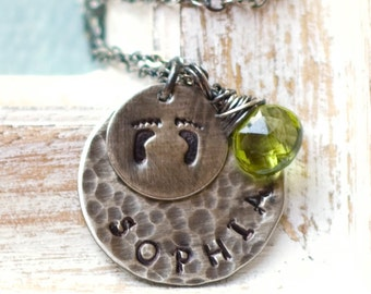 Mother's Necklace, Charm Necklace for Moms, Baby Name Necklace, Necklace with Kids Names, Hand Stamped Necklace