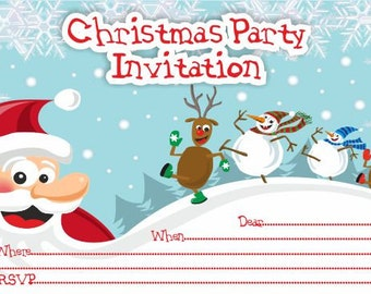 10 x Children CHRISTMAS Party Invitations