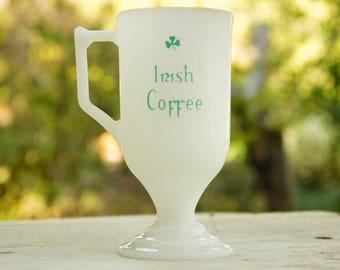 Vintage Irish Coffee Milk Glass Cup/Mug/St Patrick's Day/Clover/Retro/Mid Century
