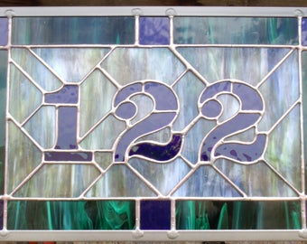 Custom Stained Glass Address Plaque, House Numbers, Personalized Gift, Window Panel, Address Numbers