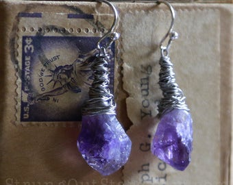 Amethyst Points - Strung-Out recycled guitar string earrings