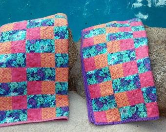 Handgefertigte Baby Decke, Baby-Dusche-Geschenk, Baby Decken, Lavendel Quilt rosa Baby Quilt