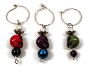 Crowned Skull Wine Glass Charms