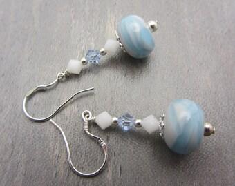 Lampwork Earrings Blue and White Earrings Glass Bead Earrings Dangle Drop Earrings SRAJD USA Handmade