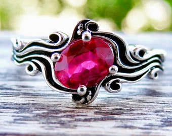 Rubine Red Ruby Ring in 14K White Gold in Ocean Sea Surf Themed Setting with Blackened Waves Size 7