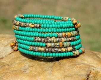 Turquoise Czech Bead Boho Bangle