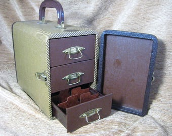 Vintage Small Baja Slide Carry Case 3 Drawers Brass Hardware Mint Unique