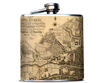 Flask with DUBLIN Street MAP,  Hip Flask, Map flask, City map, retirement gift for women, Irish-American, Ireland, Gift for World Traveller