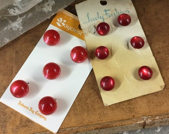 Two Cards Red Moonglow Vintage Buttons Round Half Round Styles Molded Shanks Baycrest Lady Fashion Sewing Supplies Lucite Feminine Woman