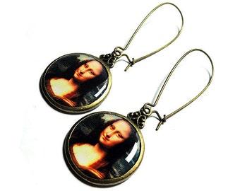 Mona Lisa Earrings Leonardo Da Vinci Fine Art, Dangle Earrings, Da Vinci, Handmade, Resin Jewelry,  Gift for Her, Handmade Jewelry