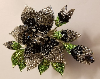 Dramatic Swarovski Flower Cuff Oversized Statement Cuff Bold Black Crystal Cuff OOAK Art Cuff Ball Jewelry Formal Jewelry Wedding Bridal