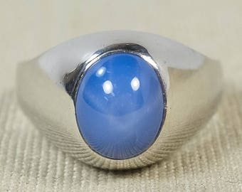 Sleek Bold 14K White Gold 3.00ct Created Bright Blue Star Sapphire Gemstone Solitaire Domed Polished Statement Ring Size 10.75 OPS-2017-1329