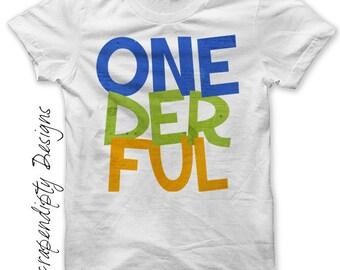 1st Birthday Iron on Transfer - Iron on First Birthday Shirt PDF / Toddler Boys Customized Birthday Tshirt / Baby Onederful Clothes IT353