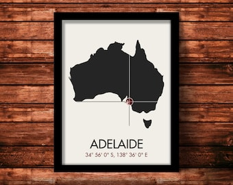 Adelaide Map Print | Adelaide Map Art | Adelaide Print | Adelaide Gift | Australia Map | 11 x 14 Print