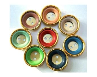 7 Antique Vintage buttons gold color metal with 8 colors plastic circles, 24mm