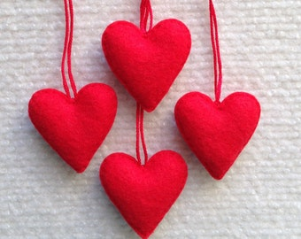 Red felt heart ornament set of four, Christmas, Valentine's day, Wedding favors