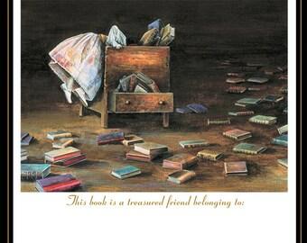 Bookplate set of 20, Custom bookplates, Lost in Literature, original artwork by Lori Preusch