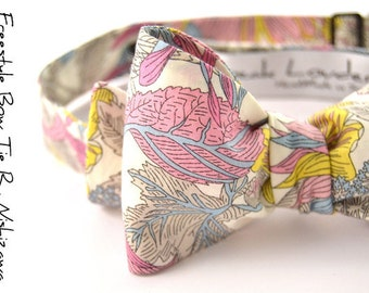 self-tie Wedding Mens Bow Tie Pink, yellow and grey flowers bowtie