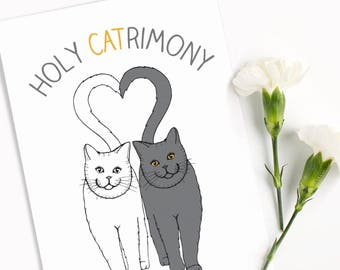 Funny Wedding Cat Card 'Holy Catrimony' Funny Cat Wedding Gift