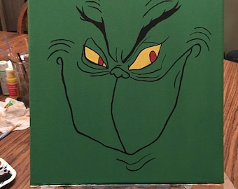 10x10 Grinch Acrylic Painting on Canvas