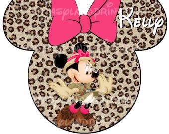 Minnie Safari DIY Printable Image for Iron on Transfers Disney Princess Leopard Cheetah Pink Animal Kingdom