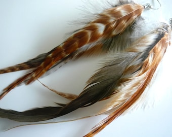 Feather Earrings , Earth Tones   and Long Grizzly RIKA 3 / 31