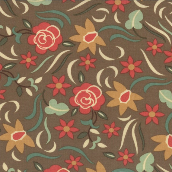 Tomato Red and Gold Flowers On Mud Brown, Western Theme Honky Tonk by Eric and Julie Comstock for Moda Fabrics By The Yard. 37083 17