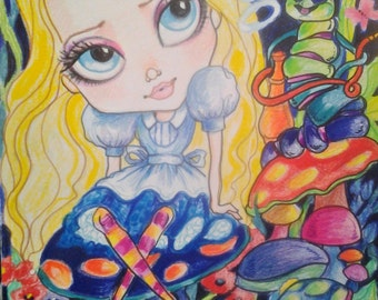 Alice and the Caterpillar Wonderland Fantasy Fairytale Big Eye Art