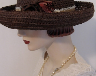 ON SALE/ Brown Straw Breton Hat
