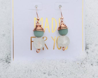 Copper with Amazonite and Quartz Earrings