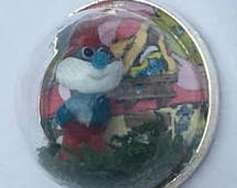 Papa Smurf and smurfette in silver plated glass dome pendant necklace with silver chain smurf necklace