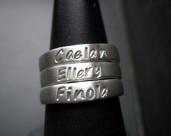 One (1) Sterling Silver Stackable Ring -4mm wide - Size 8 - Hand Stamped Ring-Personalized Ring-Personalized Band-Silver Ring-Sterling Ring