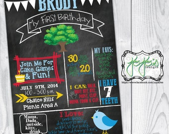 Outdoors Chalkboard Stats 1st Birthday Invitation, Tree, Bird, Forest, Arrow, Leaves, Red Yellow Blue Green (Digital File)