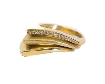 Three Part Ring, Three-phase Ring, Gold and Diamond Ring, Unique Gold and Diamond Ringת Three Layer Ring