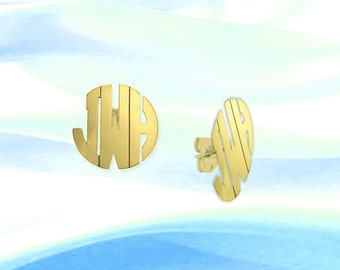 Monogram Earrings - .75  inch 24K Gold Plated Handcrafted Personalized - Initial Earrings - Made in USA