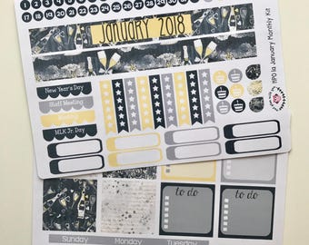 HP01 || Watercolor New Year Happy Planner Teacher Kit