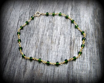Green Chrome Diopside Gemstone Gold Filled and Brass Rosary Style Bracelet