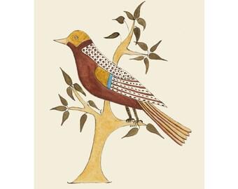 "Folk art frameable greeting card print, ""Sentinel"""