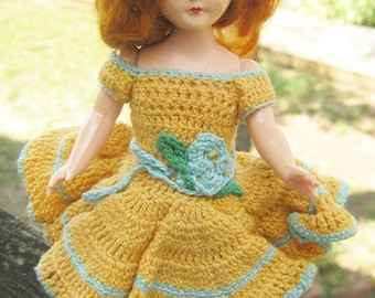 8 Inch Vintage Doll With Crocheted Clothing, Doll With Red Hair and Eyes That Open, Craft Doll With Clothes, Plastic Doll With Movable Arms