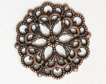 Bulk 20 pcs of Antique copper  filigree focal pendant 29mm, Antique copper filigree connector