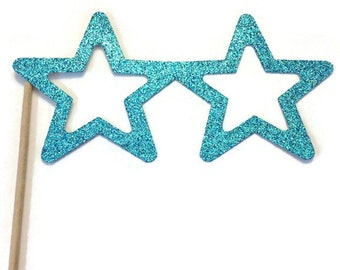 Photo Booth Prop- Star Glasses  Photo Booth Prop with GLITTER- You Choose the Color