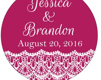 Custom Glossy Waterproof Wedding Stickers Labels Seals -many designs to choose from - change designs to any color, wording or size WR-059