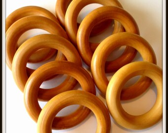Set of 10 Wooden Teething Rings - 2.5 Inch Maple Hardwood - Perfect for Homemade Waldorf Baby Toys