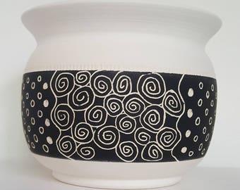 Planter, Flower Pot, Succulent Pot, Black and White Flower Pot