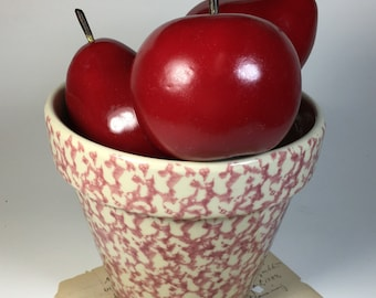Vintage Henn Pottery spongeware rose flower pot pink