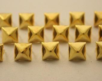 100 pcs. Dark Gold Pyramid Studs Rivets Biker Spikes spots nailheads Decorations Findings 9 mm. CKSPDG9