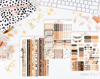 Fall Fashion HORIZONTAL Weekly Kit // 130+ Matte Planner Stickers // Perfect for your Erin Condren Life Planner // WKH0330
